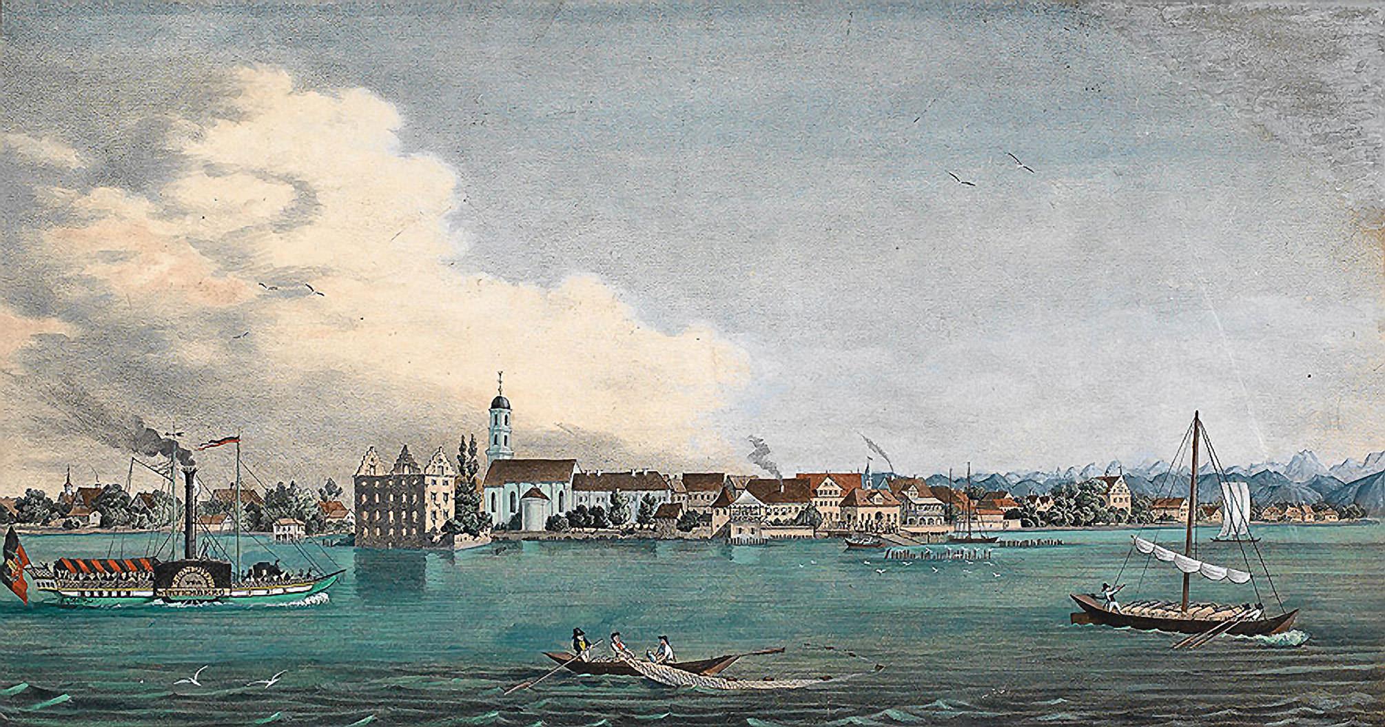 Erste bildliche Darstellung von Langenargener Fischern auf einer kolorierten Lithografie des Jahres 1841